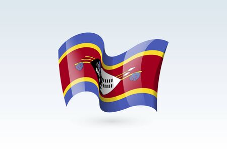 Swaziland waving flag vector icon, national symbol. Flag of Swaziland, fluttered in the wind - vector illustration isolated on white background.  イラスト・ベクター素材