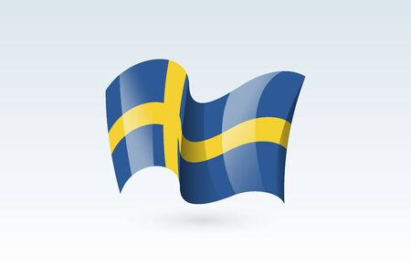 Sweden waving flag vector icon, national symbol. Flag of Sweden, fluttered in the wind - vector illustration isolated on white background.
