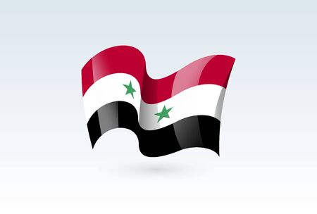 Syria waving flag vector icon, national symbol. Flag of Syria, fluttered in the wind - vector illustration isolated on white background.  イラスト・ベクター素材