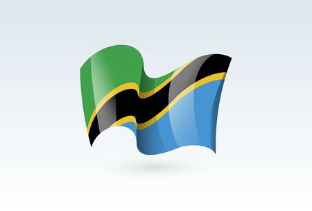 Tanzania waving flag vector icon, national symbol. Flag of Tanzania, fluttered in the wind - vector illustration isolated on white background.