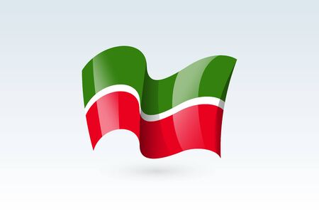 Tatarstan waving flag vector icon, national symbol. Flag of Tatarstan, fluttered in the wind - vector illustration isolated on white background.