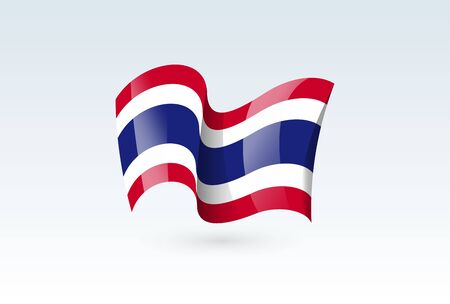 thailand waving flag vector icon, national symbol. Flag of thailand, fluttered in the wind - vector illustration isolated on white background.