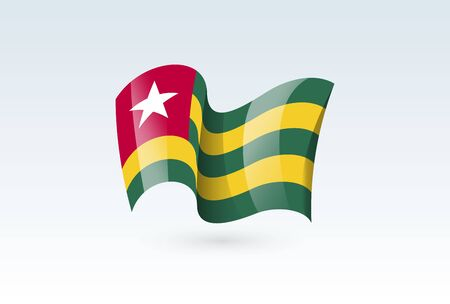 Togo waving flag vector icon, national symbol. Flag of Togo, fluttered in the wind - vector illustration isolated on white background.