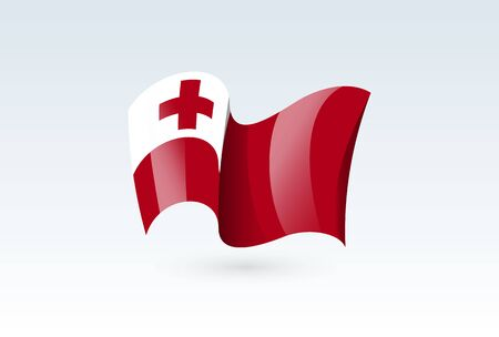 Tonga waving flag vector icon, national symbol. Flag of Tonga, fluttered in the wind - vector illustration isolated on white background.