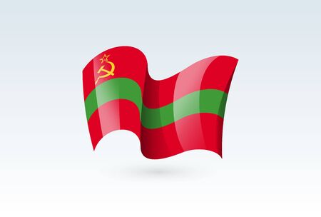Transnistria waving flag vector icon, national symbol. Flag of Transnistria, fluttered in the wind - vector illustration isolated on white background.