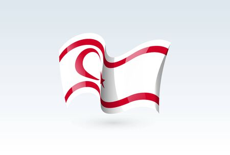 turkish Republic waving flag vector icon, national symbol. Flag of turkish Republic, fluttered in the wind - vector illustration isolated on white background.  イラスト・ベクター素材