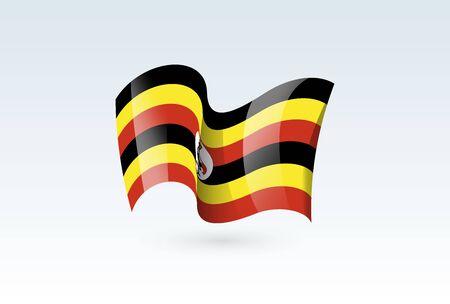 Uganda waving flag vector icon, national symbol. Flag of Uganda, fluttered in the wind - vector illustration isolated on white background.