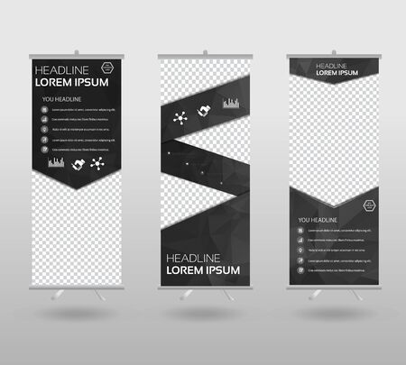 Red Roll Up Banner template and info graphics stand design, advertisement, display, business flyer, polygon background. vector illustration. Çizim