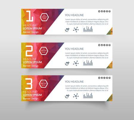 Satz Infografik-Banner mit polygonaler, geometrischer, dreieckiger Musterform. Web-Banner modernes niedriges Polygon-Hintergrunddesign, geometrischer Hintergrund. eps10-Vektorillustration.