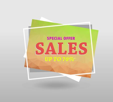 Quote sale banner. with polygonal triangles, 3d mesh polygons, rounds, lines, explosion for business and sale shopping. Ilustração
