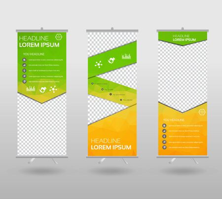 Roll Up Banner template and info graphics stand design, advertisement, display, business flyer, polygon background. vector illustration.