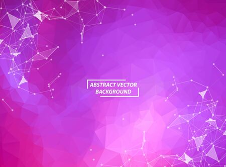 Purple Polygonal background molecule and communication. Connected lines with dots. Minimalism chaotic illustration background. Concept of the science, chemistry, biology, medicine, technology.