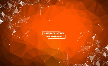 Orange Polygonal background molecule and communication. Connected lines with dots. Minimalism chaotic illustration background. Concept of the science, chemistry, biology, medicine, technology.