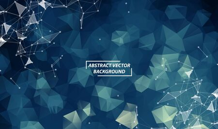 Dark Blue Polygonal background molecule and communication. Connected lines with dots. Minimalism chaotic illustration background. Concept of the science, chemistry, biology, medicine, technology.
