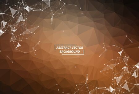 Brown Polygonal background molecule and communication. Connected lines with dots. Minimalism chaotic illustration background. Concept of the science, chemistry, biology, medicine, technology.