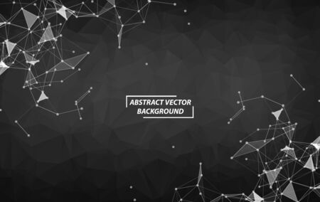 Black Polygonal background molecule and communication. Connected lines with dots. Minimalism chaotic illustration background. Concept of the science, chemistry, biology, medicine, technology.