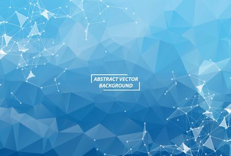 Blue Polygonal background molecule and communication. Connected lines with dots. Minimalism chaotic illustration background. Concept of the science, chemistry, biology, medicine, technology.