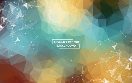 Vintage Polygonal background molecule and communication. Connected lines with dots. Minimalism chaotic illustration background. Concept of the science, chemistry, biology, medicine, technology.