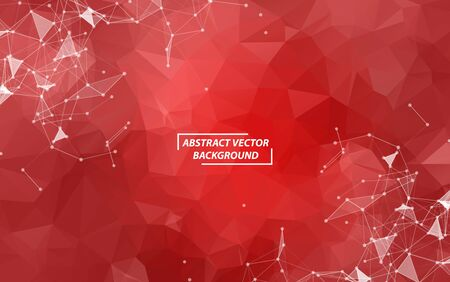Red Polygonal background molecule and communication. Connected lines with dots. Minimalism chaotic illustration background. Concept of the science, chemistry, biology, medicine, technology.
