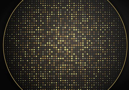 Abstract modern dark background with overlap layers. Realistic texture with golden dots element, shiny light effect circle glitters. Technology Design Template. 向量圖像