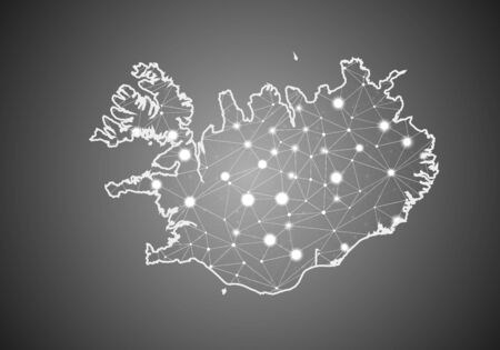 Vector wireframe mesh polygonal of iceland map. Abstract global connection structure. Map connected with lines and dots. Geometric world concept. digital data visualization, infographics.