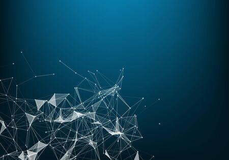 Conexión de red aislada sobre fondo azul. Para el sitio web, papel tapiz, póster. Arte creativo, concepto abstracto moderno. Concepto de Big Data.
