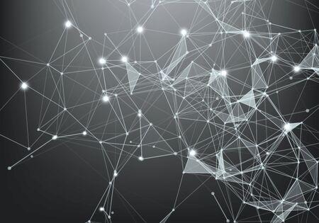 Connessione Internet astratta e progettazione grafica della tecnologia. sfondo poligonale, sfondo geometrico con punti, linee, triangoli per il web globale, connessione, scienza, concetto futuristico. Vettoriali