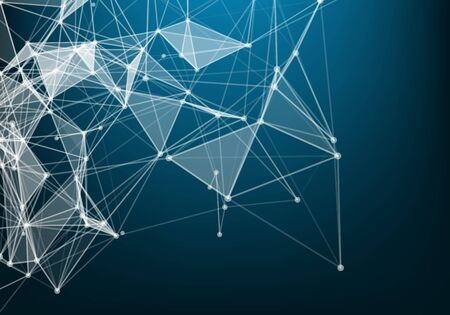 Abstract connection dots. Technology background. Network connection structure. Vector Plexus effect. Иллюстрация