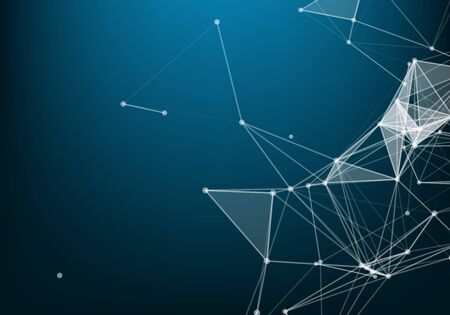 Abstract polygonal space low poly dark background with connecting dots and lines. Connection structure. Science. Futuristic polygonal background.