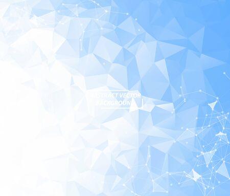 Molécule de fond polygonale géométrique bleu et communication. Lignes connectées avec des points. Fond de minimalisme. Concept de la science, de la chimie, de la biologie, de la médecine, de la technologie.