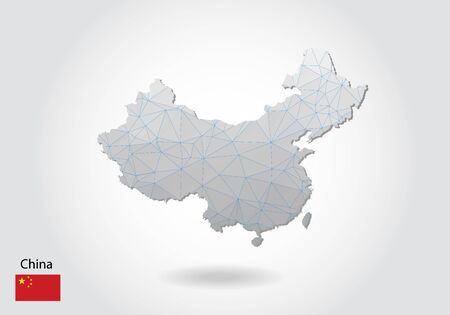 Vector map of china with trendy triangles design in polygonal style on dark background, map shape in modern 3d paper cut art style. layered papercraft cutout design.  イラスト・ベクター素材