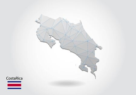 Vector map of costa Rica with trendy triangles design in polygonal style on dark background, map shape in modern 3d paper cut art style. layered papercraft cutout design.