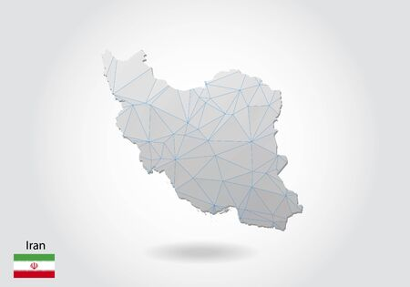 Vector map of iran with trendy triangles design in polygonal style on dark background, map shape in modern 3d paper cut art style. layered papercraft cutout design.