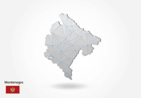 Vector map of Montenegro with trendy triangles design in polygonal style on dark background, map shape in modern 3d paper cut art style. layered papercraft cutout design.