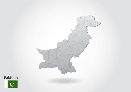 Vector polygonal Pakistan map. Low poly design. map made of triangles on white background. geometric rumpled triangular low poly style gradient graphic, line dots, UI design. Vettoriali
