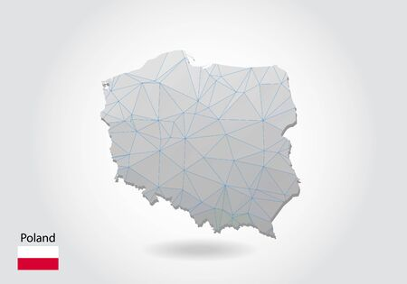Vector polygonal Poland map. Low poly design. map made of triangles on white background. geometric rumpled triangular low poly style gradient graphic, line dots, UI design. Ilustração Vetorial