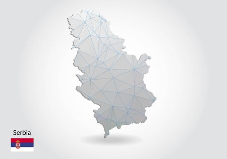 Vector polygonal Serbia map. Low poly design. map made of triangles on white background. geometric rumpled triangular low poly style gradient graphic, line dots, UI design.