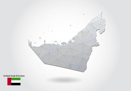 Vector polygonal United Arab Emirates map. Low poly design. map made of triangles on white background. geometric rumpled triangular low poly style gradient graphic, line dots, UI design.