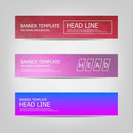 Set of banners with a polygonal geometric background with different design elements and colors. Design of flyers, banners, brochures and cards, Corporate Identity, Advertising printing.