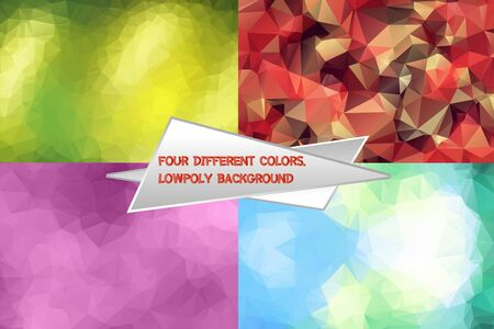 Abstract polygonal lowpoly background pattern. Set of 4 vector geometric gradient backdrops. used for social media, web, advertising, printing, brochure design.