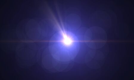 Blank light leak Real Lens Flare over Black Background. Easy to add as Overlay or Screen Filter. 3D Rendering. 스톡 콘텐츠 - 150109425