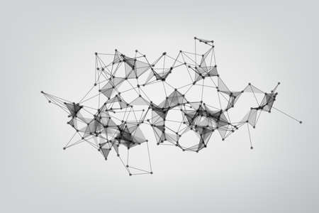 Abstract Polygonal Space Gray Background. Technology connecting dots and line.