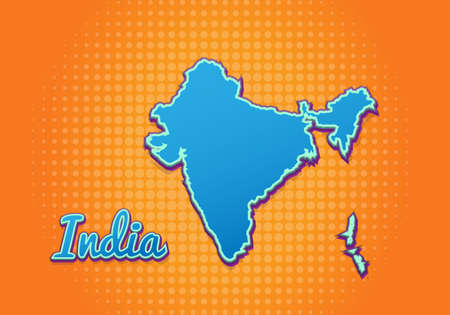 Retro map of india with halftone background. Cartoon map icon in comic book and pop art style. Cartography business concept. Great for kids design,educational game,magnet or poster design.