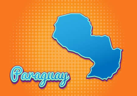 Retro map of Paraguay with halftone background. Cartoon map icon in comic book and pop art style. Cartography business concept. Great for kids design,educational game,magnet or poster design.