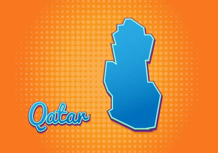 Retro map of Qatar with halftone background. Cartoon map icon in comic book and pop art style. Cartography business concept. Great for kids design,educational game,magnet or poster design.