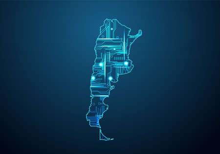 Abstract futuristic map of azerbaijan.Circuit Board Design Electric of the region. Technology background. mash line and point scales on dark with map.