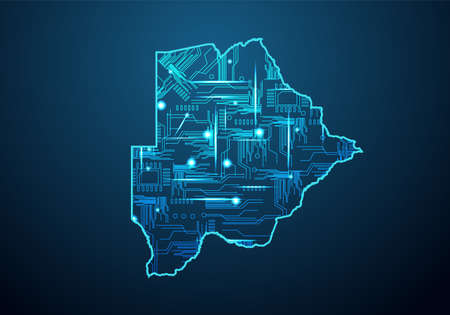 Abstract futuristic map of burundi.Circuit Board Design Electric of the region. Technology background. mash line and point scales on dark with map.
