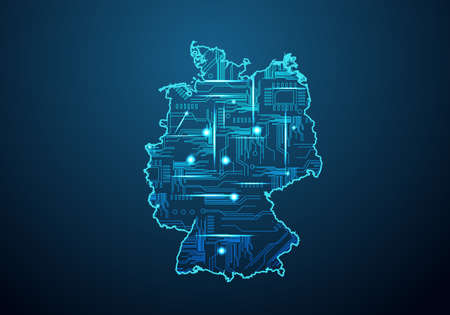 Abstract futuristic map of germany.Circuit Board Design Electric of the region. Technology background. mash line and point scales on dark with map.