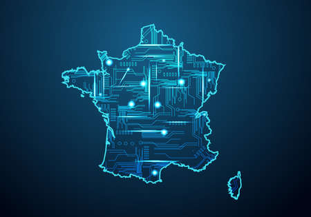 Abstract futuristic map of france.Circuit Board Design Electric of the region. Technology background. mash line and point scales on dark with map.