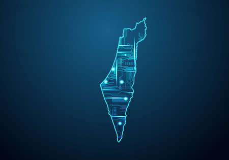 Abstract futuristic map of israel Palestine. Circuit Board Design Electric of the region. Technology background. mash line and point scales on dark with map. 矢量图像